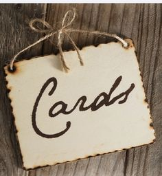 """Wood Sign """"Cards"""" with rope tie 5x4"""
