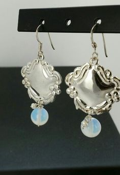 Sterling shield with Opal and Pearl drops