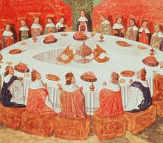 King Arthur and the Grail: Illustration of 'The Round Table and the Holy Grail', from a manuscript of 'Lancelot-Grail' written by Michel Gantelet, completed in 1470