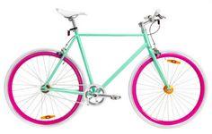 So Adorable! Pink and Green Bike Fixi Bike, Bike Seat, Road Bike, Bike Rides, Mountain Bike Shoes, Mountain Bicycle, Tricycle, Bmx, Bike Lovers