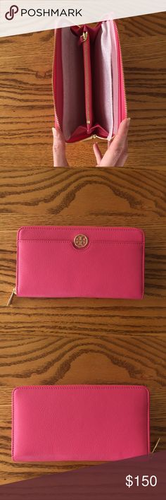 Tory Burch Landon Continental Wallet Leather Tory Burch wallet in Fiesta pink! NWT. Tag is in the interior of the wallet. Tory Burch Accessories