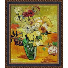 La Pastiche Vincent van Gogh 'Japanese Vase with Roses and Anemones 1890' Hand Painted Framed Art