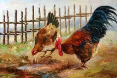 Hen and Rooster