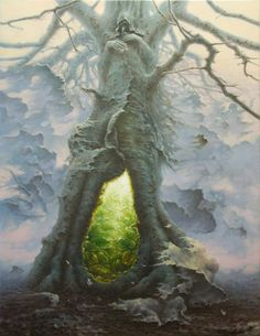 Surreal Depictions of Human Nature Versus the Universe Ireland-based Polish painter Tomasz Alen Kopera uses basic oils and acrylics on canvas to envelop his audience into an otherworldly realm where the Fantasy Places, Fantasy World, Surrealism Painting, Art Brut, Visionary Art, Fantasy Inspiration, Dark Fantasy Art, Fantasy Trees, Dark Art