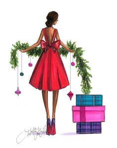 Wrapped Up With A Bow Three Color Options Print por HNIllustration Noel Christmas, Christmas And New Year, Vintage Christmas, Christmas Crafts, Christmas Mood, Illustration Noel, Christmas Illustration, Christmas Drawing, Christmas Pictures