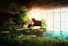 Anime app for anime lover Fantasy Landscape, Fantasy Art, Piano Y Violin, Piano Room, Graphisches Design, Original Wallpaper, Anime Scenery, Environmental Art, Anime Artwork