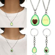 freundschaft halskette mit ohrring schlüsselanhänger grüne avocado - anhänger Ring Armband, Washer Necklace, Pendant Necklace, Cheap Necklaces, Avocado, Silver, Ebay, Jewelry, Friendship Necklaces
