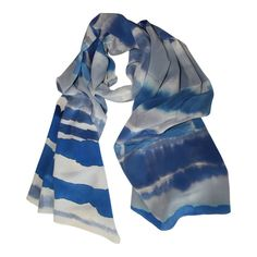 Hand Painted Silk Scarf Blue and Grey / Striped Silk by xyCassils