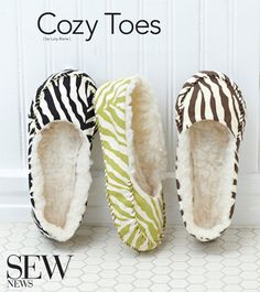 Stitch a pair of cozy slippers with easy pattern and instructions. Can be done in less than an hour.