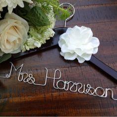 Custom Wedding Hanger w/White Satin Flower