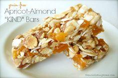 Apricot Almond Bars Grain-Free == The Nourishing Home (Ingredients: 1/3 C honey, 2 T coconut flour, 1 T almond butter, 1/8 tsp. salt, 1 C coconut flakes, 1 C chopped almonds, 1/3 C chopped cashews, 1/2 C chopped dried apricots)