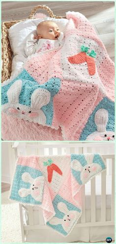 Crochet Luv My Bunny Blanket Free Pattern - Crochet Baby Easter Gifts Free Patterns