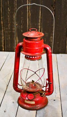 Vintage Lantern Dietz No. 20, Kerosene Lantern, Red Lantern.