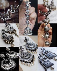 Indian Jewelry Sets, Bridal Jewelry Sets, Bridal Jewellery, Oxidised Jewellery, Silver Jewellery, Silver Earrings, Jewelry Design Earrings, Ear Jewelry, Stylish Jewelry