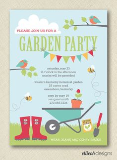 kids garden party invite PRINTABLE digital file by ellieohdesigns