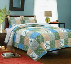 Blues and greens dominate the Country Garden quilt's floral, paisley, and stripe prints. Quilt is reversible to a single print.Set contains 1 queen/full quilt measuring and 2 standard shams measuring cotton shell. Country Bedding Sets, Farmhouse Bedding Sets, Farmhouse Quilts, Plaid Bedding, Quilt Sets Queen, Country House Interior, Country Homes, Striped Quilt, Primitive