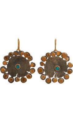 Judy Geib Opal Large Flat Flowery Earrings