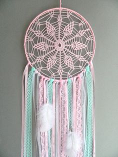 Pink and mint nursery dreamcatcher Boho wall hanging decor Bohemian girls room decoration Crochet lace dream catcher Baby shower gift This pink and mint lace nursery dream catcher is a beautiful bo… Mint Nursery, Diy Nursery Decor, Baby Decor, Bohemian Girls, Bohemian Decor, Lace Dream Catchers, Dream Catcher Nursery, Crochet Dreamcatcher, Boho Wall Hanging