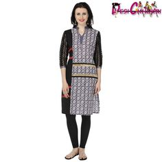 Beautiful and stylish, this black and ey colored straight kurti by Desi Chhokri is a must have in your wardrobe. Tailored in a regular fit, this cotton kurti will surely be a valuable addition to your ethnic wardrobe. The neatly designed Chinese collar and three fourth net sleeves infuse oodles of charm in your overall appearance.