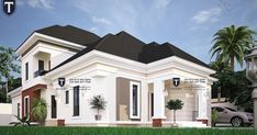 Four bedroom bungalow in Nigeria Modern Bungalow House Design, 4 Bedroom House Designs, Modern House Facades, Duplex House Design, One Storey House, 2 Storey House Design, House Outside Design, House Front Design, Beautiful House Plans