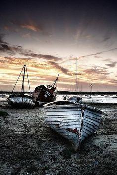 Harbour at dusk.   Mersea Island, Essex, England