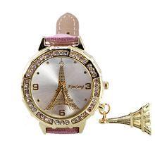 b1ca1d8eaa5 Paris Torre Eiffel Assistir Mulheres de Quartzo Relógio de Pulso Moda  Casual Pulseira de Couro PU