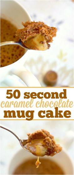 The most amazing caramel chocolate mug cake recipe you will ever try! It only takes 50 seconds for this dessert for one and satisfies your sweet tooth. via (tasty dessert recipes mug cakes) Microwave Mug Recipes, Mug Cake Microwave, Microwave Meals, Dessert In A Mug, Dessert Cups, Chocolate Mug Cakes, Chocolate Recipes, Chocolate Caramels, Cake Recipes