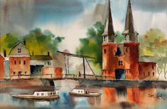 """""""City Gate, Delft"""" , watercolor, Sam Cook"""