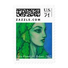 Balanis dryad green leaves forest goddess art postage - oak gifts tree leaves style nature gift idea cyo
