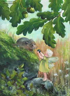 A little fairy girl offers a blueberry to a mouse under an oak tree. Watercolour and acrylic white painting. Blueberry Tree, Blueberry Girl, Fairy Land, Fairy Tales, Tree Illustration, Fairytale Art, Watercolor Trees, Flower Fairies, Beautiful Artwork