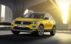 Download wallpapers 4k, Volkswagen T-Roc, 2018 cars, SUVs, yellow T-Roc, VW, Volkswagen