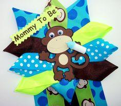 Monkey Baby Shower Corsage  Baby Boy   READY TO by CrazyCraftFrog
