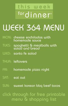 weekly meal plan from @Jane Maynard + free menu printable and shopping list