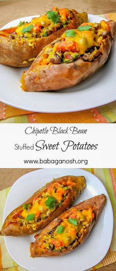 Chipotle Black Bean Stuffed Sweet Potatoes. This is the ultimate comfort food for me - tender sweet potatoes, slightly spicy filling. Healthy, filling, delicious, vegetarian.
