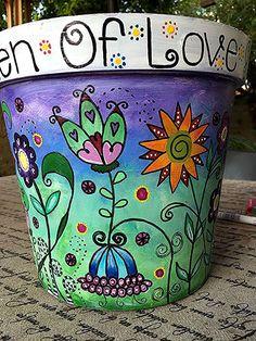 "Bemalter Topf Painted pot Drip Paint Flower Pots Painting Terra Cotta C""Not always full"" 18 USPainted pot - All About Gardens Flower Pot Art, Flower Pot Crafts, Clay Pot Crafts, Painted Plant Pots, Painted Flower Pots, Ceramic Flower Pots, Drip Painting, Pottery Painting, Flower Pot People"