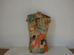 Vintage decoupage mannequin by Chateauchicdirect on Etsy
