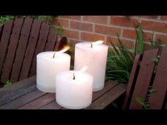 Large Garden Candles, available in 3 sizes, fantastic dotted around the garden or patio, long burn times, will withstand the wind without blowing out. These White Garden Candles are windproof and burn for up to 60, 85 and 140 hours. The wicks will adjust as the candle burns, so there should not be any need to trim them. It's best to avoid leaving them outside in either extreme cold or heat, just put the garden candles away after you use them.