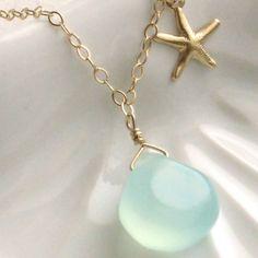 Gold Starfish and Chalcedony Necklace, bridesmaid gift, beach wedding jewelry, green &  gold, starfish charm
