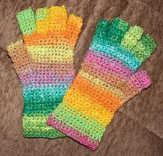 Crochet No Sew Easy Fingerless Mitts free pattern.