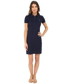 Lacoste Short Sleeve Pique Polo Dress Lacoste, Navy Blue Dresses, Dresses For Work, Shorts, Favorite Things, Free Shipping, Shopping, Collection, Sleeve