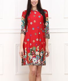 Look at this Red & Navy Floral Shift Dress on #zulily today!