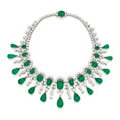 A Platinum, 18 Karat Gold, Emerald and Diamond Necklace, Bulgari, Brooke Astor