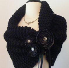 Wedding Shawl / Bride Bolero /Black Bolero / Shrug /Black Shawl with Flowers / Winter Wedding / Made To Order