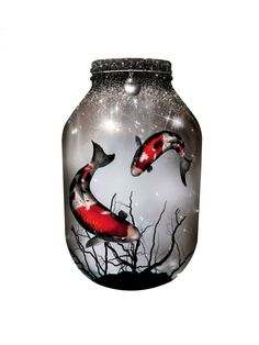 Hand painted Japanese Koi Lantern, candle holder, light jar, night light, wedding centrepiece, MADE TO ORDER. by melOnDesign on Etsy