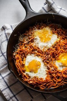 There's no wrong time of day to eat eggs. Especially when they're baked into a crispy sweet potato hash. Get the recipe.