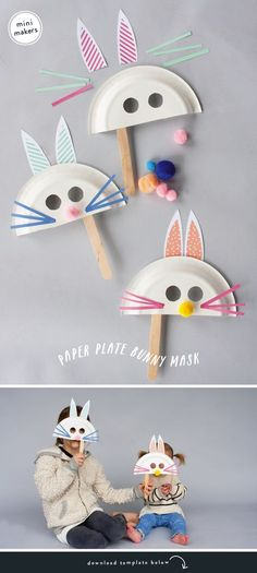 MINI MAKERS: PAPER PLATE BUNNY MASK : Easter bunny masks for kids Make these simple and fun bunny masks with your mini makers to help get in the spirit for Easter! Bonus, they double as a fun toy and activity! Easter Crafts For Toddlers, Daycare Crafts, Bunny Crafts, Easter Crafts For Kids, Toddler Crafts, Preschool Crafts, Easter Ideas, Easter Subday, Easter Table