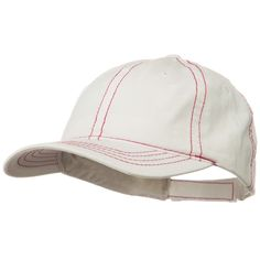 Contra Stitch Washed Polo Cap - White Red