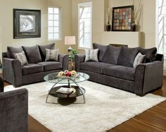 The Elizabeth Charcoal sofa and loveseat is a great option for mom - she'll love that it is comfortable, stylish, soft, and durable! #furniture #sofa #loveseat #americanfreight #homedecor #design