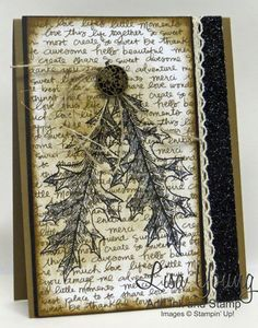 Vintage Leaves stamp set by Stampin' Up! Black leaves on script background. Vintage leaf card by Lisa Young, Add Ink and Stamp