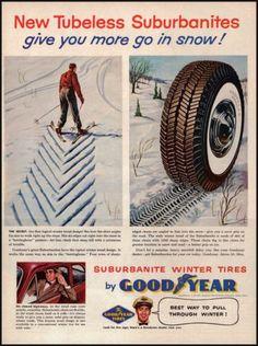 1955 Goodyear Suburbanite Winter Tires Original Vintage Print Ad Illustrated